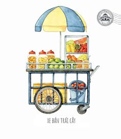 [Illustrations] The Beauty of Saigon Street Carts Through the Eye of Its Beholder - Saigoneer Vietnamese Street Food, Vietnamese Recipes, Food Trolley, Food Carts, Cute Food Art, Street Vendor, Food Drawing, Food Illustrations, Indian Art