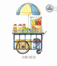 [Illustrations] The Beauty of Saigon Street Carts Through the Eye of Its Beholder - Saigoneer Indian Illustration, Watercolor Illustration, Food Trolley, Vietnamese Street Food, Street Vendor, Food Drawing, Food Illustrations, Food Design, Menu Design
