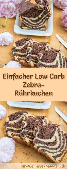 Rezept für Low Carb Zebra-Rührkuchen - kohlenhydratarm, kalorienreduziert, ohne Zucker und Getreidemehl #lowcarb #kuchen #backen