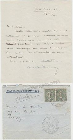Debussy, Claude - Autograph Letter Signed with Envelope - To Ernest Bloch