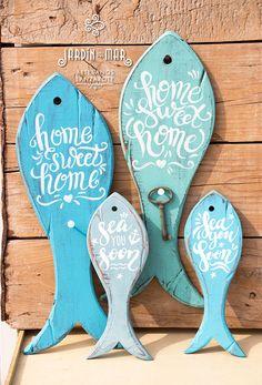 "Handcrafted silhouette fish decor with handmade painting: ""home sweet home"" (keyholder) and ""sea you soon"" (decoration) by jardindelmar.es artesanos lanzarote. #handmade #shabbychic #fish #seayousoon #jardindelmar #madera #lanzarote"