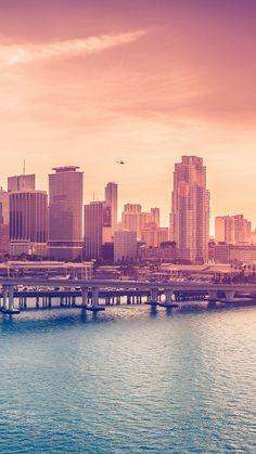 City Skyline Bridge Sunset iOS8 #iPhone #6 #plus #wallpaper