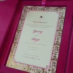 Invitation itself decorated with 16 crystals, in a fuschia silk box. Invitation Set, Invites, Wedding Invitations, Rsvp, Compliments, Silk, Crystals, Box, Frame
