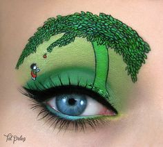 Makeup artist Tal Peleg designs detailed paintings on an unusual canvas: her upper eyelid. Using this part of her face–along with her eyebrows, lashe