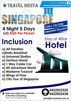 Are looking for International holidays from Australia? Travel Siesta is a leading Australia based tour operator offering wide range of international holiday packages Singapore Tour Package, Adventure World, International Holidays, Flight Tickets, Holiday Packages, Travel Companies, Cheap Hotels, Tour Operator, Hotel S
