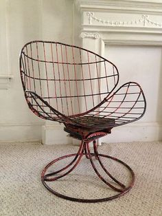 Vintage Wire Swiveling Bounce Chair Salterini Homecrest