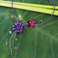 Gorgeous Blossom - Handmade Amethyst & Garnet Choker