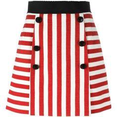 Dolce & Gabbana striped mini skirt ($795) ❤ liked on Polyvore featuring skirts, mini skirts, red, short miniskirt, striped mini skirt, striped a line skirt, high-waist skirt and vertical stripe skirt