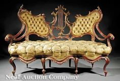 """The """"Breakfast at Tiffany's"""" Antique Italian Rococo Red-Painted Settee, mid-19th c. Note: This sofa appears in Holly Golightly's apartment in the Audrey Hepburn film """"Breakfast at Tiffany's"""" (Paramount, 1961, script by Truman Capote)."""