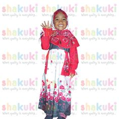 Gamis Red Flower Moslem Girl Set. Detail and order, pls visit http://www.shakuki.com/1709,2407-0314-gamis-red-flower-moslem-girl.html