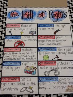 My Bill of Rights anchor chart 5th grade