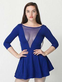 069396de6f1e17 American Apparel - Ponte Gloria V Skater Dress (in black) Royal Blue Dresses