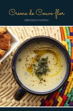 Creme de couve-flor | Mel e Pimenta Food N, Good Food, Food And Drink, Yummy Food, Low Carb Recipes, Soup Recipes, Vegetarian Recipes, Healthy Recipes, Caldos Low Carb