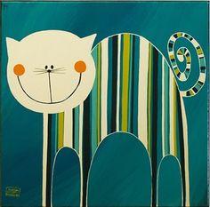 grinning striped kitty // (via Pakamera Artystyczna - obrazy i inne - malarstwo - akryle - obraz - kociak indygo)