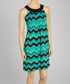 Love this Hadari Black & Turquoise Zigzag Yoke Dress by Hadari on #zulily! #zulilyfinds