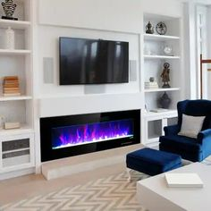Wall Units With Fireplace, Fireplace Feature Wall, Built In Electric Fireplace, Linear Fireplace, Fireplace Built Ins, Home Fireplace, Fireplace Inserts, Modern Fireplace, Living Room With Fireplace
