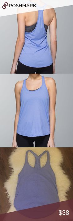 Lululemon 105 F Singlet Tank Top Lululemon 105 F Singlet tank top in light blue with a subtle gray stripe. Cute tiny scalloped detail on hems. Tear out tag removed but it is a size 4. lululemon athletica Tops Tank Tops