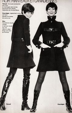 Louis Feraud and Courreges Marie France - September 1968 Photographed by Jean-Pierre Grabet 60s And 70s Fashion, 60 Fashion, Fashion History, Retro Fashion, Fashion Models, Fashion Beauty, Vintage Fashion, Fashion Design, Gothic Fashion