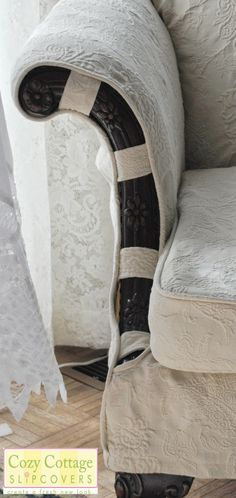 Cozy Cottage Slipcovers: detail of the wood arms