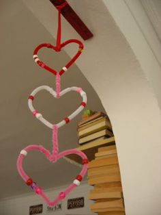 Heart mobile with pipe cleaners and beads. Could even make a few and attach to a hanger.