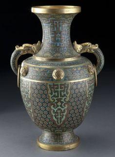 277: Chinese Qing Qianlong cloisonne vase, : Lot 277