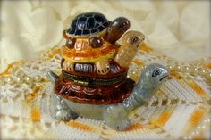Stacked Turtles Hand Painted Limoge Style by TinyandBeautiful
