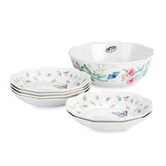 LENOX Butterfly Meadow 7 PC Pasta Set $89.95 BEST PRICE GUARANTEE FREE WORLD SHIPPING (LOCAL ORDER PICK UP IS ALSO AVAILABLE & GET 20% OFF)