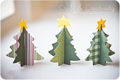 ...simple tutorial on making Paper Tree...could serve as place cards, decorations, be a part of your Christmas Village, etc;   Cute.