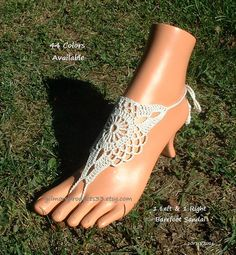 Chantilly Lace Barefoot Sandals Shoes Crochet by gilmoreproducts33
