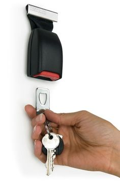 Buckle Up Key Holder- Losing your car keys can be very frustrating, so it makes sense to keep them somewhere safe... Well, what can be safer than buckling them up? This wall mounted key holder is produced from discontinued car seat belt buckles. The perfect gift for car lovers and anyone who keeps losing their keys.