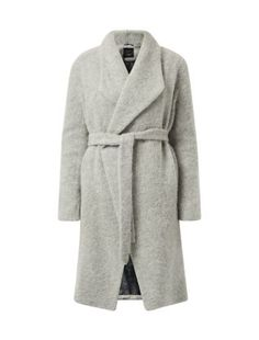 Throw on this Grey Premium Brushed Wrap Front Coat over a suit for instant chic in colder months. #newlook #fashion