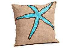 Ecoaccents - starfish burlap pillow blue/brown