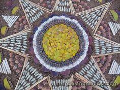 Mandala Art Medium: ~~yellow wild rose leaf, acorn, cattail fuzz, brown leaf, puff grass heads, golden field grass stem, pine cone petal, dried cattail stalk, acorn caps, yellow blackberry leaf on a brown earth canvas~~
