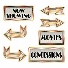 Add to your event décor and guide your attendees with these signs. Perfect for a Movie Night, prom, formal, banquet, fundraiser or any other event! Backyard Movie Party, Outdoor Movie Party, Backyard Movie Nights, Outdoor Movie Nights, Now Showing Movies, Movie Theater Party, Cinema Party, Movie Decor, Movie Party Decorations