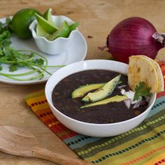 Recipe: Black Bean Soup  from Cooking Illustrated (or just get Amy's, TJ or Bob's Red Mill Bountiful Black Bean Soup Mix) Add cilantro and avocado to top