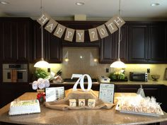 IN STOCK READY TO SHIP  Happy 70th Birthday Burlap Banner  This banner is made of all natural burlap and painted with premium white acrylic paint. This banner would look great hanging from a mantle, above a window or as a photo prop. Size This banner has 9 flags and measures 50 inches in length. The flags are approximately 5 by 7 inches. Each flag is hung on jute twine with plenty of twine on each end for displaying. Each flag: is hand cut from burlap then hand painted with premium acrylic…