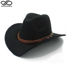Western Cowboy Hat For Men or Women - Wool Felt with Wide Brim (One Size:58 cm)