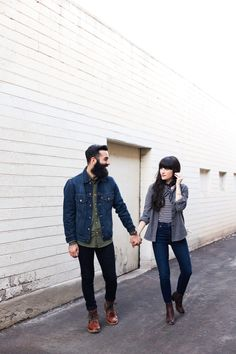 New Darlings - Fall Fashion with Clark's Boots - Couples Denim Layering Looks