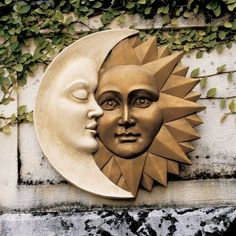 Add a touch of artistic charm to your home with the Design Toscano Celestial Harmony Sun and Moon Wall Decor. This astounding sculpture represents the moon and the sun living together in harmony and hanging a balance. It comes with durability that lasts Stars And Moon, Moon Decor, Wall Decor, Art Mural En Plein Air, Art Soleil, Outdoor Wall Art, Indoor Outdoor, Outdoor Decor, Sun Art