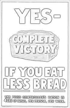 poster, Complete victory if you eat less bread, Free Coloring Sheets, Coloring Books, Nz History, Museum Plan, Botanical Drawings, How To Eat Less, Online Images, Teaching Art, Booklet