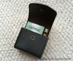 100% hand stitched handmade patent dark gray cowhide leather cigarette & lighter case / pouch / holder