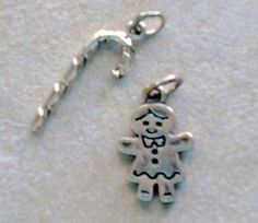 Sterling Silver Christmas Holiday Charms 2  Candy Cane and
