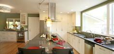 Kitchen, Green walls and red plates, clean simple, great for a family with children or who hosts.  Ida York Interior Design, Portland Oregon