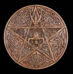 """Celtic Pentacle Wall Plaque by  Maxine Miller, Size: 11"""" W x 11"""" H.   Detailed Pentacle adorned with Celtic Knotwork and Animal Spirits showing the elements of Earth, Air, Water, Fire with the Goddess as the top point representing Spirit and the Horned God in the center representing the male aspect of nature.     The pentacle is a symbol of a pentagram encased in a circle.  Always with 5 points (one pointing upward), each has its own meaning."""