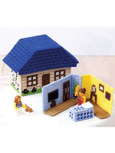 Plastic Canvas Patterns Portable Playhouse Sets 4 fun buildings with interior pieces to pack & go!   Kids can let their imaginations run free with these mini playhouses and their favorite toy figures. Patterns are included for a cottage, barn, castle and burger shop. Each set features a box-like (aff link)