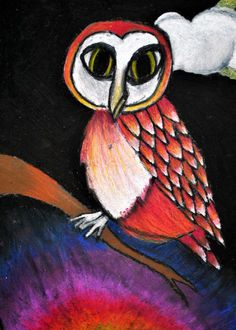 Art at Herod: 5th Grade Oil Pastel Owls Can use with The Happy Owls book  by Celestino Piatti Adapt for younger