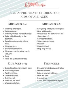 A Chore List With Age Appropriate Jobs For Your Kids