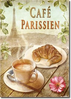 Cuadro Cafe Parisien - José Férriz Posters Vintage, Vintage Labels, Vintage Ads, Vintage Images, Decoupage Vintage, Decoupage Paper, Coffee Cafe, Coffee Shop, Cafe Art