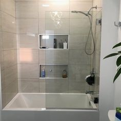 A Glass Warehouse frameless shower door can instantly make your bathroom look bigger and brighter, adding a fresh and modern feel yet having the versatility to complement any bathroom style. Bathroom Tub Shower, Bathtub Shower Combo, Bathroom Bin, Mosaic Bathroom, Shower Rooms, Houzz Bathroom, Bathroom Table, Home Depot Bathroom, Shower Over Bath