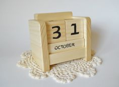 Hand Made In The U.S.A. Perpetual Desk Calendar Wooden Block Natural by 2HeartsDesire